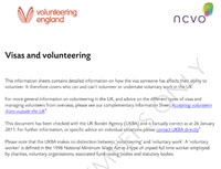 Volunteering Information Sheets: Visas and volunteering