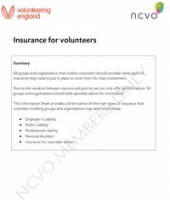 Volunteering Information Sheets: Insurance for volunteers
