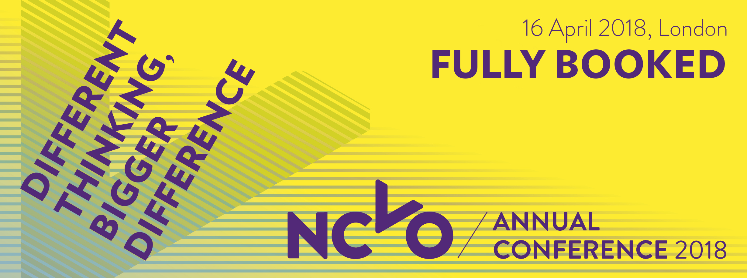 NCVO annual conference 2018 banner. 16 April: book now. Different thinking, bigger difference