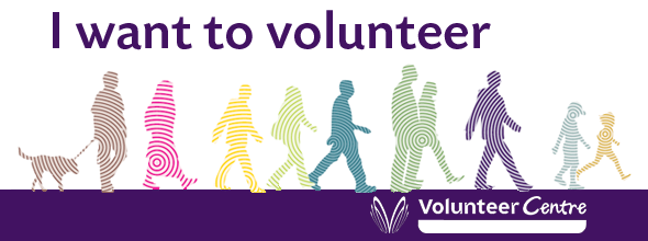 I want to volunteer banner: graphic showing silhouetted people walking from left to right across the image. Text: I want to volunteer. Volunteer Centre